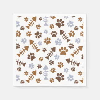 Cat Paw Prints Pattern Paper Napkin