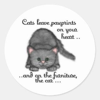 Cat paw prints round sticker