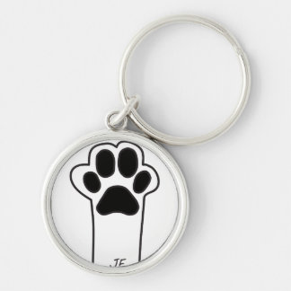 Cat paw Silver-Colored round key ring