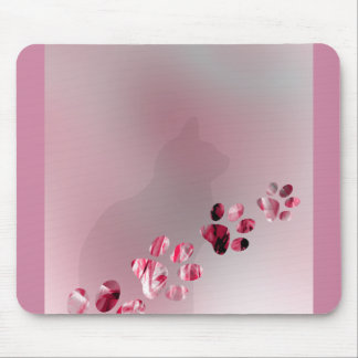 Cat Paws Watercolor Animal for Pink Cat Lovers Mouse Pad