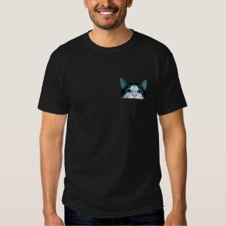 Cat Peaking Out of Pocket Shirt,Cat Man back print Tee Shirts