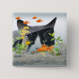 Cat Peering in Fish Tank 15 Cm Square Badge