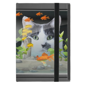 Cat Peering in Fish Tank Cover For iPad Mini