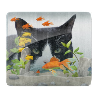 Cat Peering in Fish Tank Cutting Board