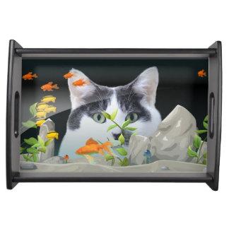 Cat Peering in Fish Tank Serving Tray