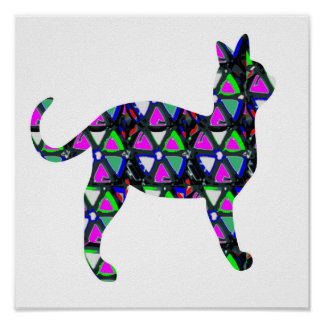Cat Pet Animal Sparkle Pink Flower Star Graphic Poster