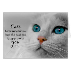 Cat Pet Sympathy Greeting Card - Nine Lives