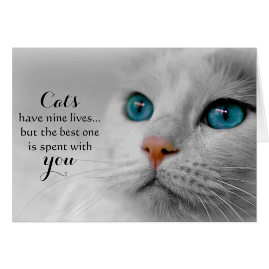 Cat Pet Sympathy Greeting Card - Nine Lives