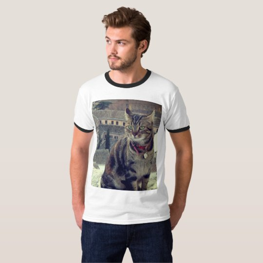 Cat Photo Men's Basic Ringer T-Shirt, White/Black T-Shirt