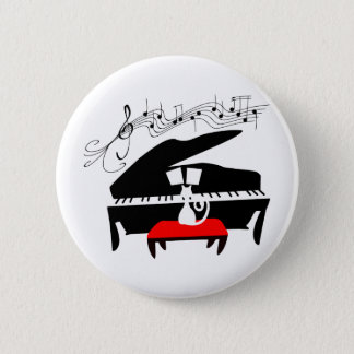 Cat & Piano 6 Cm Round Badge