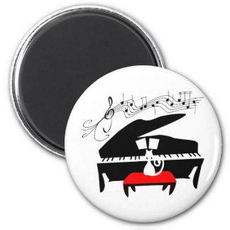 Cat & Piano 6 Cm Round Magnet