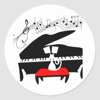 Cat & Piano Classic Round Sticker