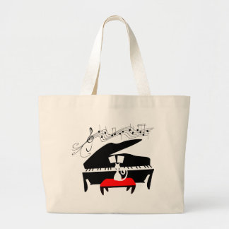 Cat & Piano Jumbo Tote Bag