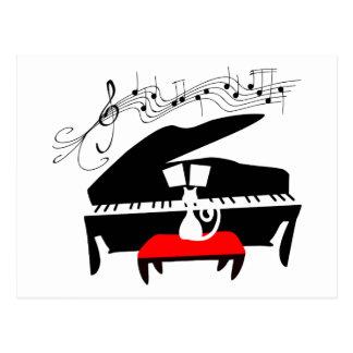 Cat Piano Postcard