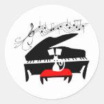 Cat & Piano Round Sticker