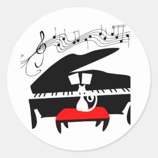 Cat Piano Stickers