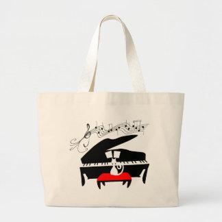 Cat & Piano Jumbo Tote Bag