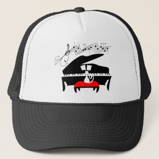 Cat & Piano Trucker Hat