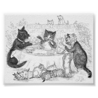 Cat Picnic Artwork Poster