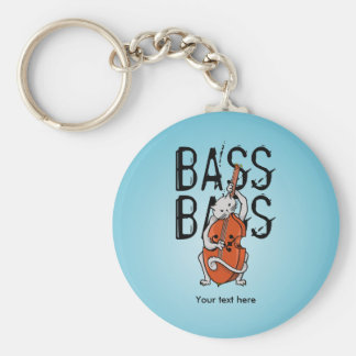 Cat Playing a Double Bass or Cello Key Ring