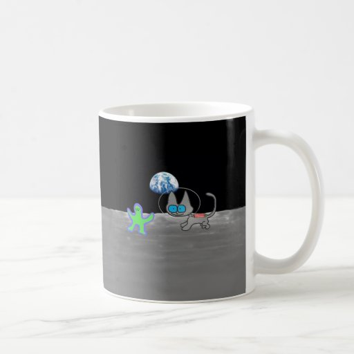 Cat Playing Chase With An Alien Friend On The Moon Mug