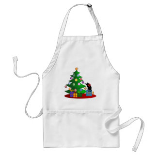 Cat Playing Christmas Ornaments Hanging on Tree Standard Apron