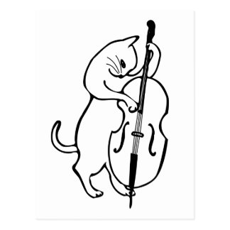 Cat playing double bass postcard