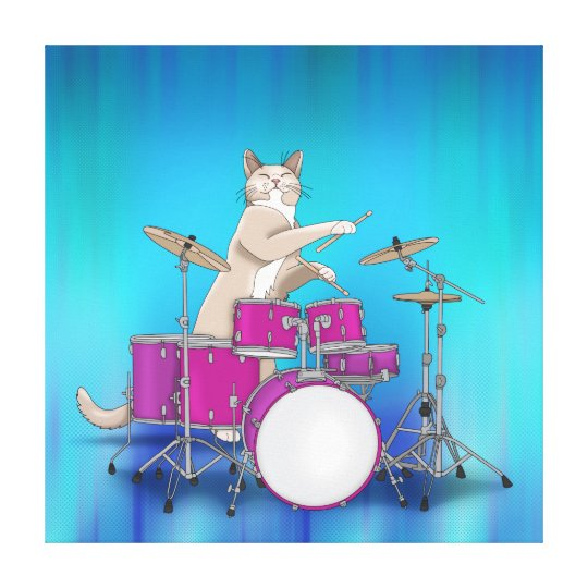 Cat Playing Drums - Blue Wrapped Canvas