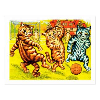 Cat Playing Football, Louis Wain Postcard