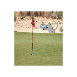 Cat Playing Golf Stretched Canvas Print