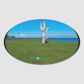 Cat Playing Golf Oval Stickers