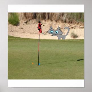 Cat Playing Golf Print