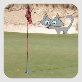 Cat Playing Golf Sticker