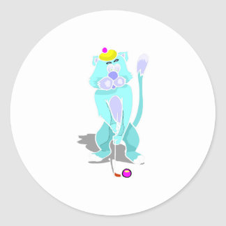 Cat Playing Golf Round Stickers