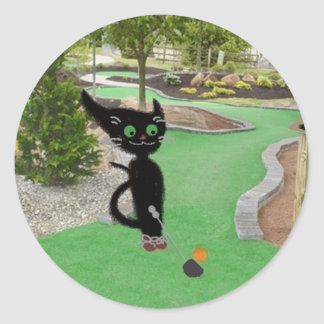Cat Playing Mini Golf Round Stickers