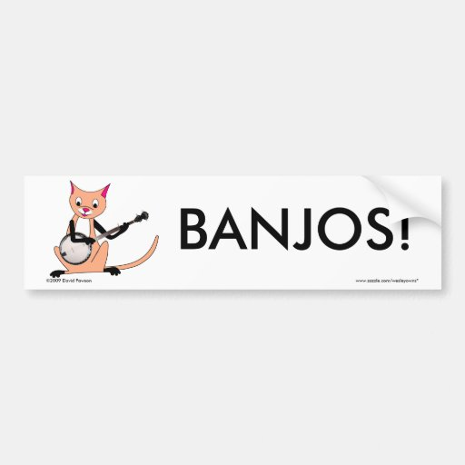 Cat Playing the Banjo Bumper Sticker