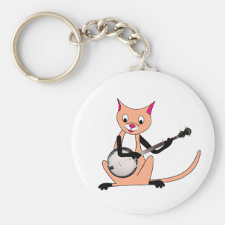 Cat Playing the Banjo Key Chains