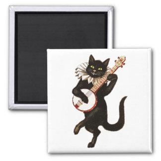 Cat Playing the Banjo Magnet
