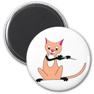 Cat Playing the Flute 6 Cm Round Magnet