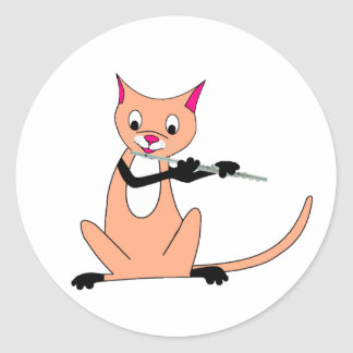 Cat Playing the Flute Classic Round Sticker