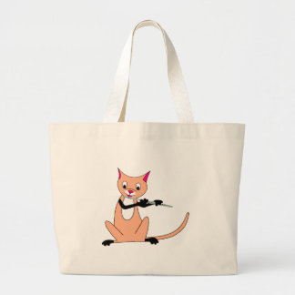 Cat Playing the Flute Large Tote Bag