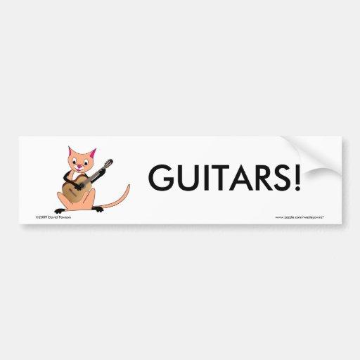 Cat Playing the Guitar Bumper Sticker