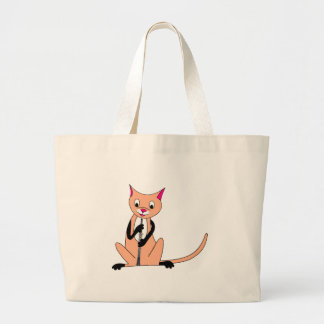 Cat Playing the Oboe Large Tote Bag