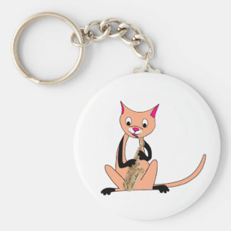 Cat Playing the Saxophone Key Ring