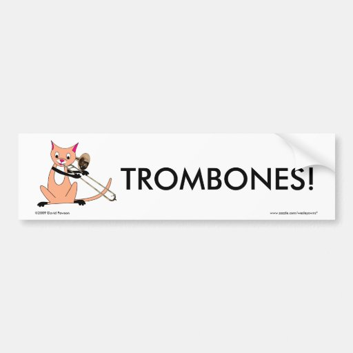 Cat Playing the Trombone Bumper Stickers