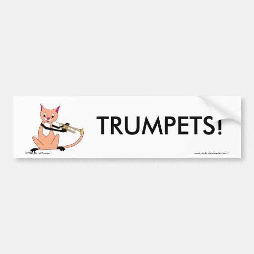 Cat Playing the Trumpet Bumper Stickers