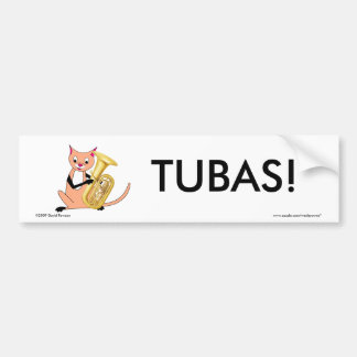 Cat Playing the Tuba Bumper Stickers