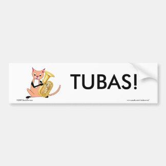 Cat Playing the Tuba Car Bumper Sticker