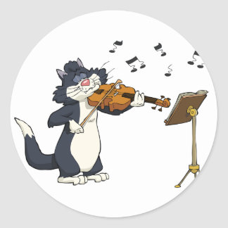 Cat Playing The Violin Round Sticker