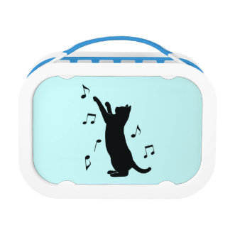 Cat Playing with Musical Notes Lunch Box